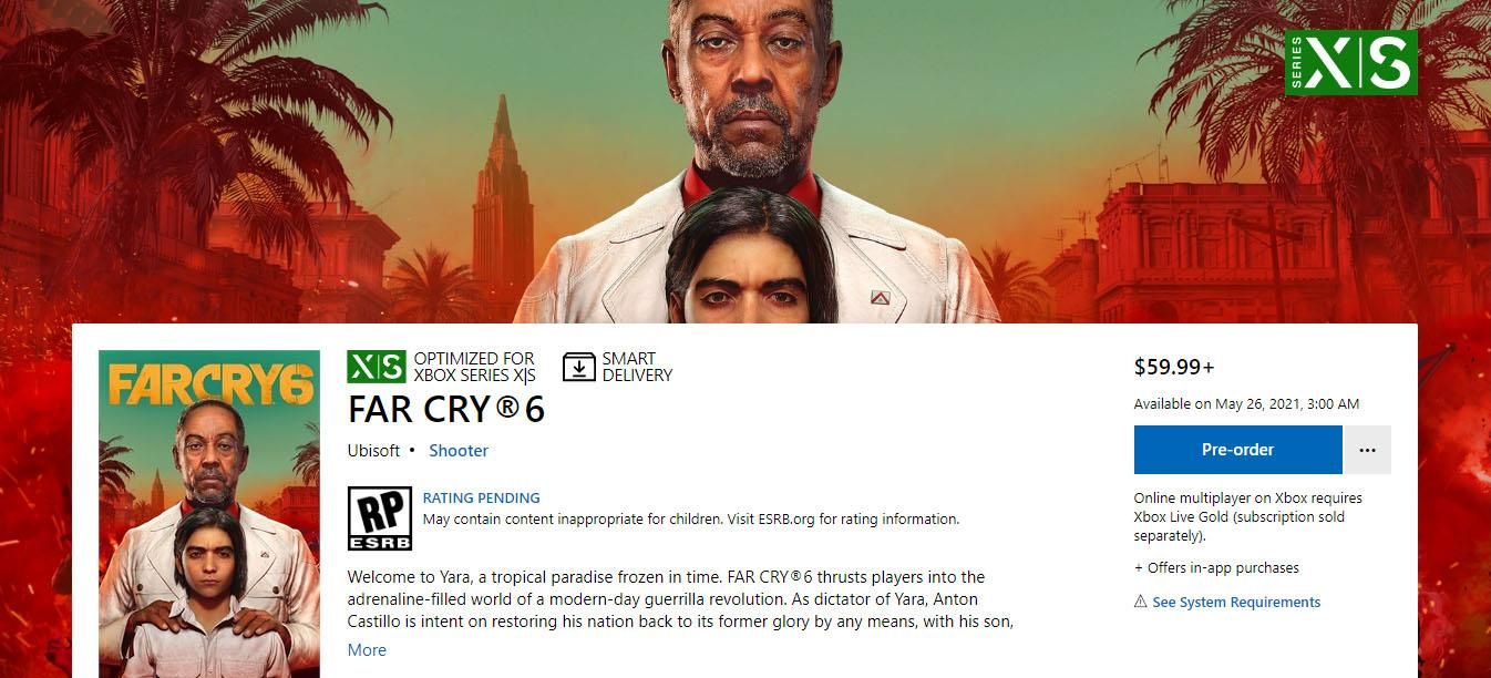 В Microsoft Store появилась новая дата выхода Far Cry 6 — конец мая 2021 года [Игры]