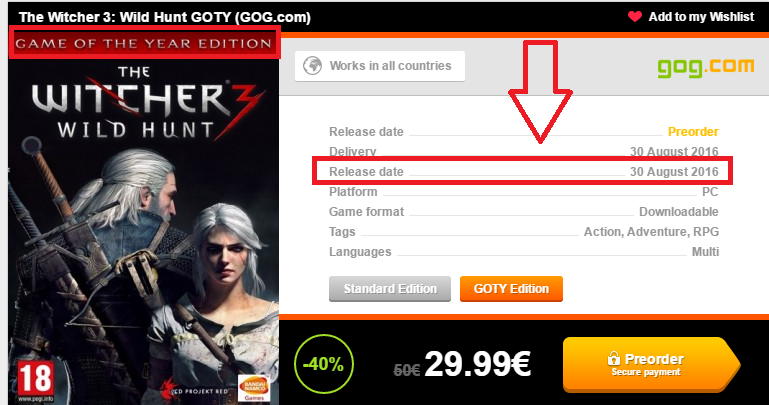 The Witcher 3: Game Of The Year выйдет в конце Августа