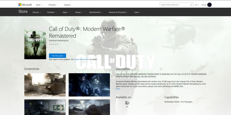 Call of Duty: Infinite Warfare - Ремастер Call of Duty: Modern Warfare замечен в Windows Store - screenshot 1